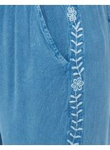 Elasticated Cuff Loose Fitting Embroidered Trousers Lt Denim - Gallery Image 4