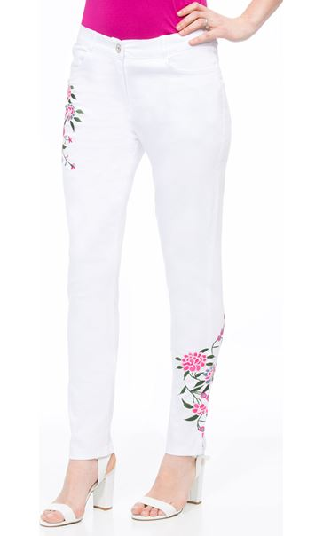 Floral Embroidered Slim Leg Jeans White/Pink