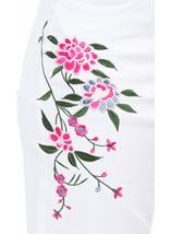 Floral Embroidered Slim Leg Jeans White/Pink - Gallery Image 4