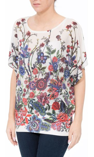 Embellished Garden Printed Georgette Top Reds - Gallery Image 2