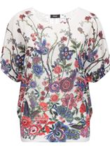 Embellished Garden Printed Georgette Top Reds - Gallery Image 1