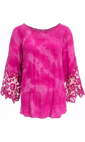 Tie Dye Bardot Top Hot Pink
