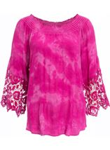 Tie Dye Bardot Top Hot Pink - Gallery Image 1