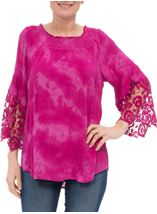 Tie Dye Bardot Top Hot Pink - Gallery Image 2