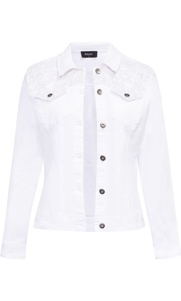Embroidered Denim Jacket White