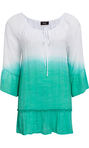 Dip Dye Three Quarter Sleeve Top Emerald/White