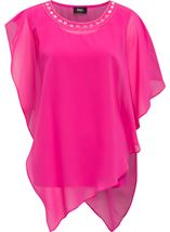 Embellished Chiffon Asymmetric Hem Top Hot Pink - Gallery Image 1