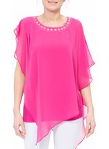Embellished Chiffon Asymmetric Hem Top Hot Pink - Gallery Image 2
