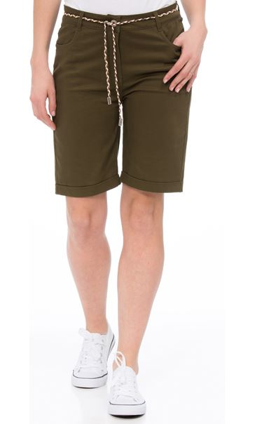 Stretch Shorts With Tie Belt Khaki - Gallery Image 2
