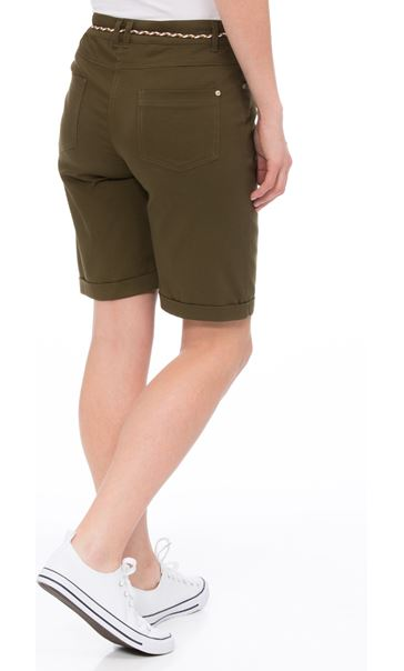 Stretch Shorts With Tie Belt Khaki - Gallery Image 3