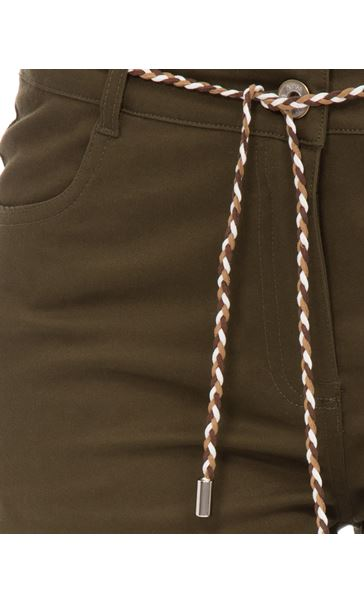 Stretch Shorts With Tie Belt Khaki - Gallery Image 4
