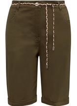 Stretch Shorts With Tie Belt Khaki - Gallery Image 1