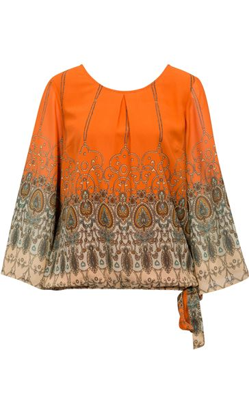 Printed Georgette Bell Sleeve Top Orange