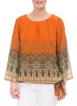 Printed Georgette Bell Sleeve Top Orange - Gallery Image 2