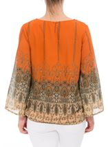 Printed Georgette Bell Sleeve Top Orange - Gallery Image 3