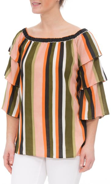 Striped Layered Sleeve Top Khaki/Orange