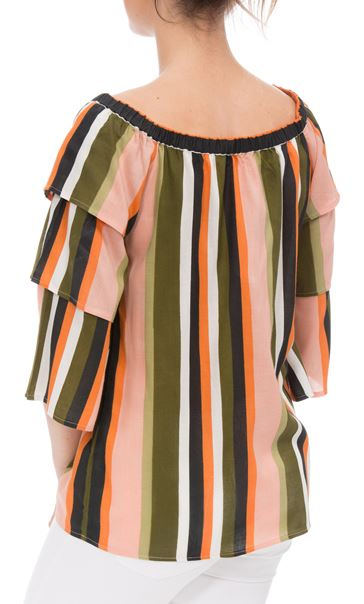 Striped Layered Sleeve Top Khaki/Orange - Gallery Image 2