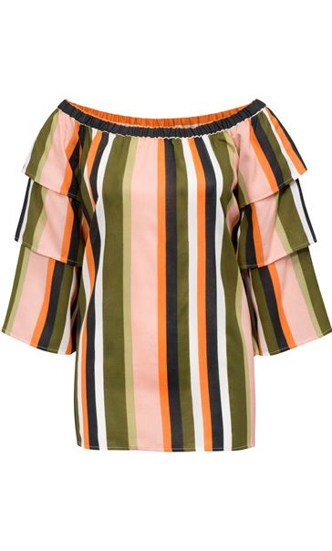 Striped Layered Sleeve Top Khaki/Orange - Gallery Image 4