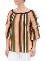 Striped Layered Sleeve Top Khaki/Orange - Gallery Image 1