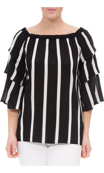 Striped Layered Sleeve Top Black/Ivory