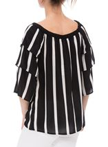Striped Layered Sleeve Top Black/Ivory - Gallery Image 2
