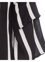 Striped Layered Sleeve Top Black/Ivory - Gallery Image 3