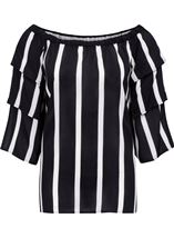 Striped Layered Sleeve Top Black/Ivory - Gallery Image 4