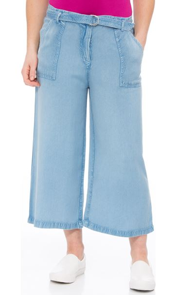 Belted Washed Culottes Lt Blue Denim