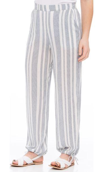 Striped Tie Cuff Pull On Trousers White/Blue