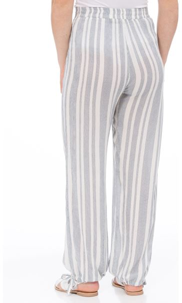 Striped Tie Cuff Pull On Trousers White/Blue - Gallery Image 2