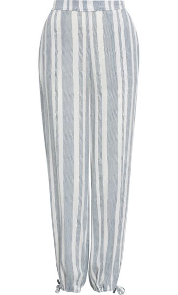 Striped Tie Cuff Pull On Trousers White/Blue - Gallery Image 3