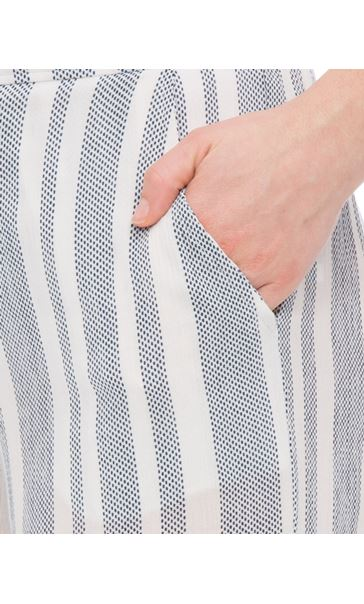 Striped Tie Cuff Pull On Trousers White/Blue - Gallery Image 4