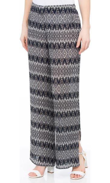 Printed Wide Leg Pleated Trousers Blue Multi