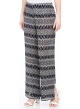Printed Wide Leg Pleated Trousers Blue Multi - Gallery Image 1