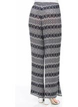 Printed Wide Leg Pleated Trousers Blue Multi - Gallery Image 2