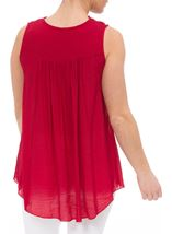 Sleeveless Crochet Trim Top Pepper Red - Gallery Image 3