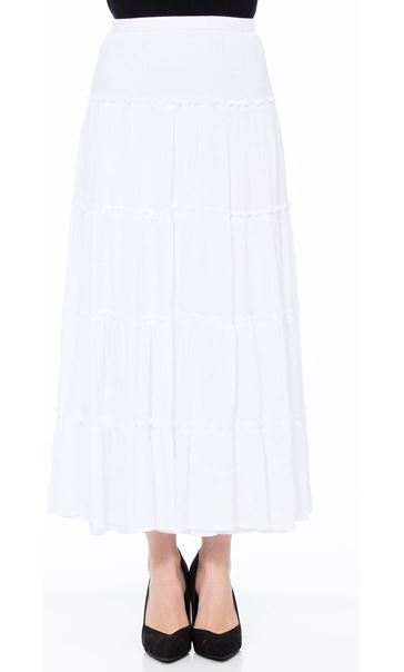 Crinkle Tiered Pull On Maxi Skirt White - Gallery Image 2