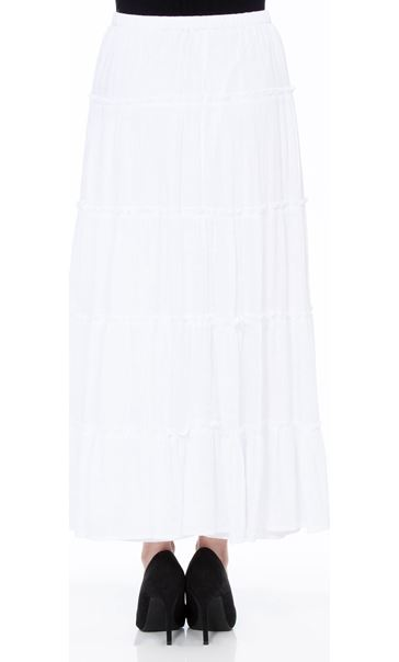 Crinkle Tiered Pull On Maxi Skirt White - Gallery Image 3