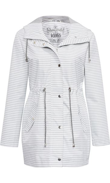 Hooded Striped Coat Ivory/Grey
