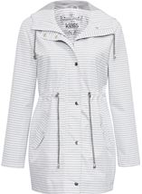 Hooded Striped Coat Ivory/Grey - Gallery Image 1