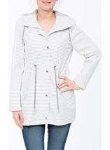 Hooded Striped Coat Ivory/Grey - Gallery Image 2