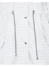 Hooded Striped Coat Ivory/Grey - Gallery Image 4