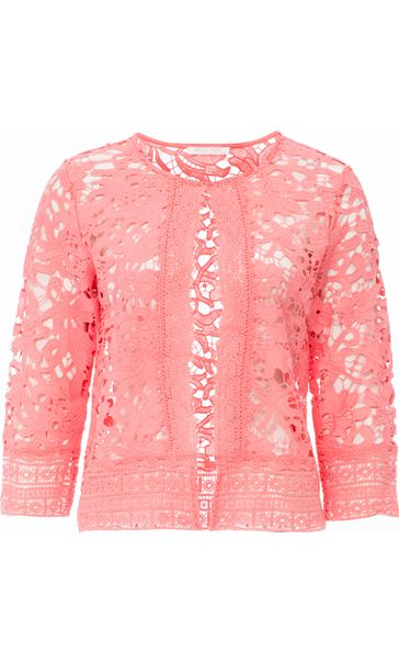 Anna Rose Lace Open Cover Up Coral