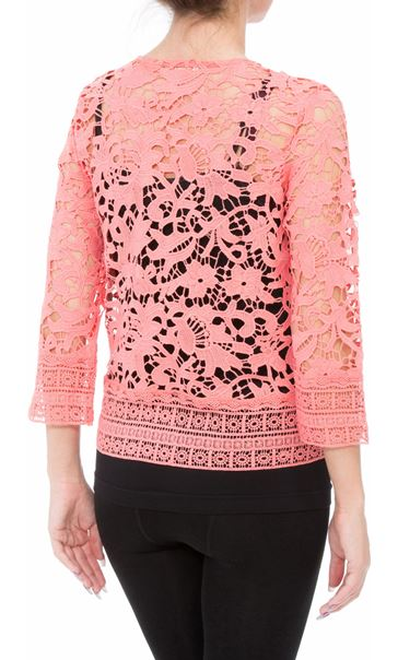 Anna Rose Lace Open Cover Up Coral - Gallery Image 3