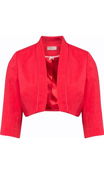 Anna Rose Open Shantung Jacket Deep Coral