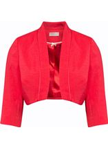 Anna Rose Open Shantung Jacket Deep Coral - Gallery Image 1