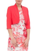 Anna Rose Open Shantung Jacket Deep Coral - Gallery Image 2