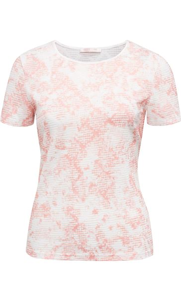 Anna Rose Textured Shimmer Top Ivory/Coral