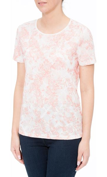 Anna Rose Textured Shimmer Top Ivory/Coral - Gallery Image 2