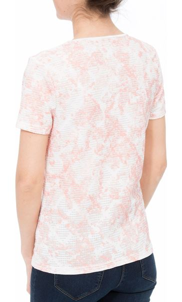 Anna Rose Textured Shimmer Top Ivory/Coral - Gallery Image 3